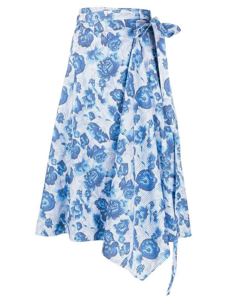 Pringle Of Scotland floral wrap skirt - Blue
