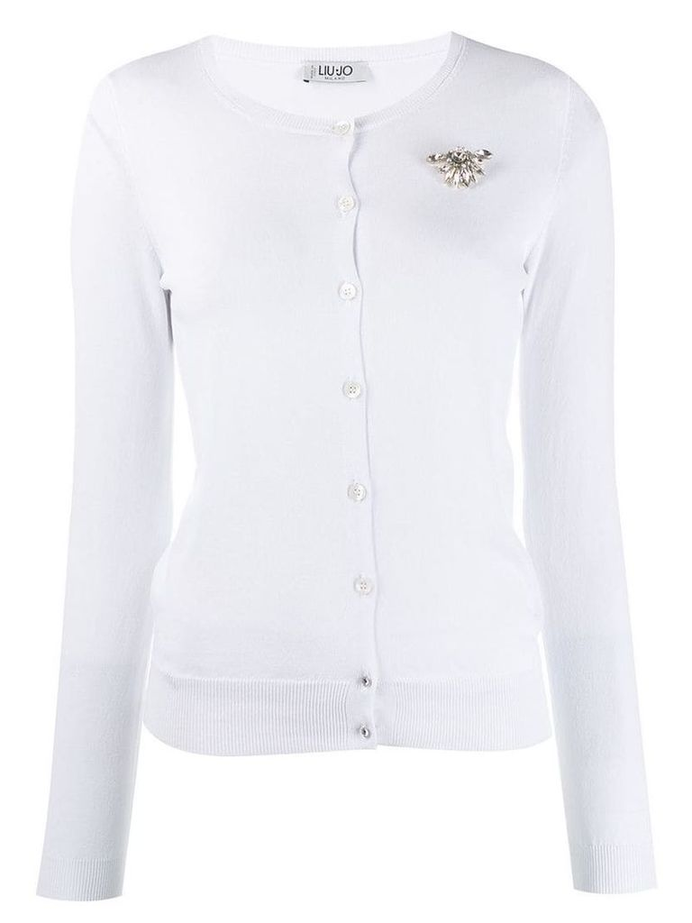 Liu Jo embellished round neck cardigan - White