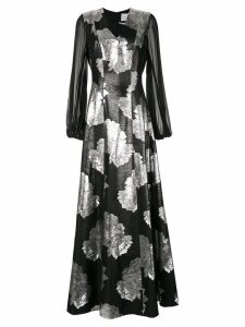 Ingie Paris floral jacquard maxi dress - Black