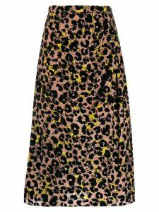 Rochas leopard print midi skirt - Pink