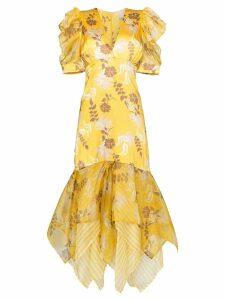 Silvia Tcherassi Lycka floral print maxi-dress - Yellow