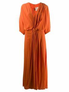 Erika Cavallini draped midi dress - Orange