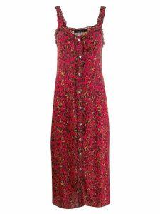 Andamane leopard print midi dress - Red