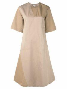 Loewe panelled A-line dress - Brown