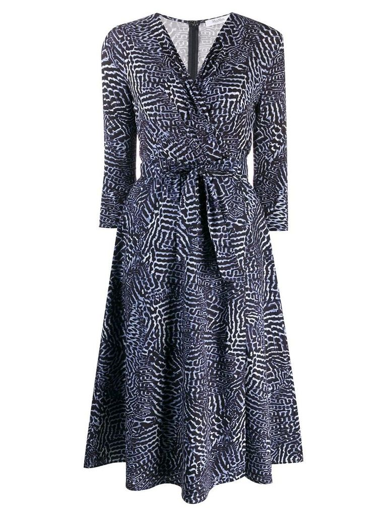 Max Mara geometric pattern wrap dress - Blue