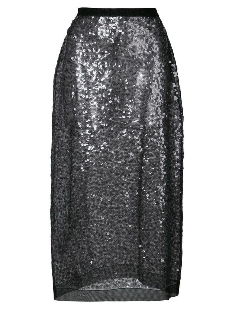 Miu Miu sheer sequin skirt - Black