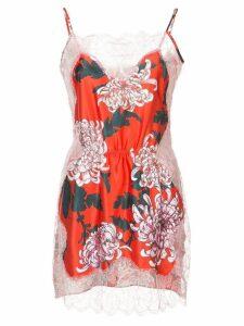 Fleur Du Mal lace appliqué slip dress - Red