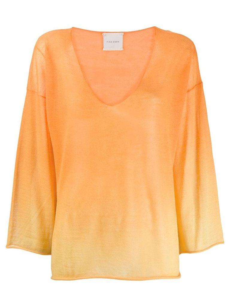 Fine Edge V-neck knitted top - Orange