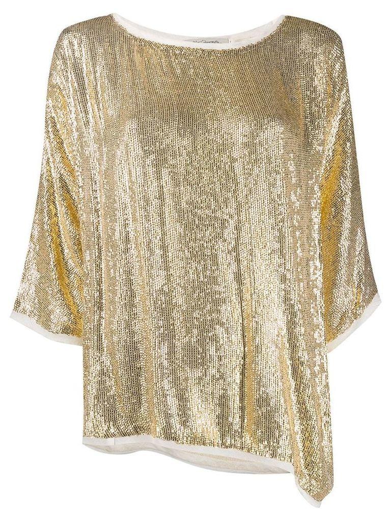 Mes Demoiselles sequinned drape blouse - Gold