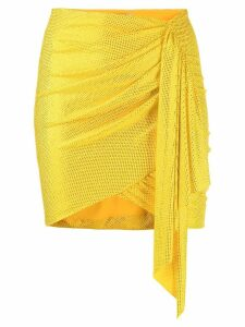 Alexandre Vauthier crystal-embellished asymmetric skirt - Yellow