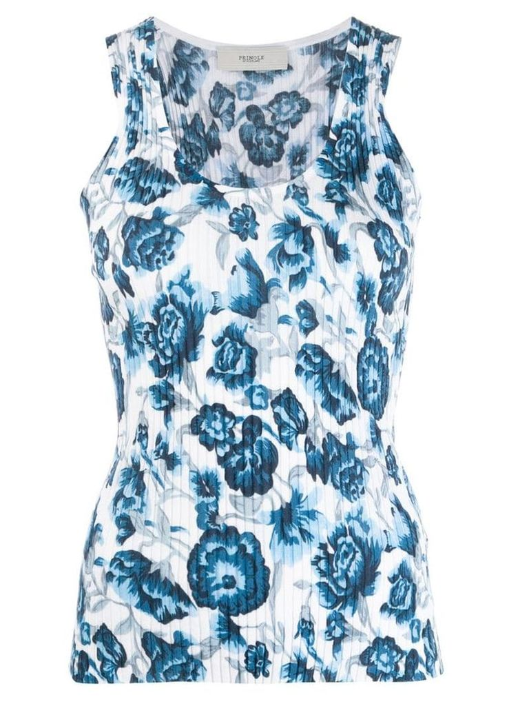 Pringle Of Scotland floral ribbed tank top - Blue