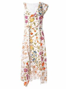 Peter Pilotto asymmetric waffle floral dress - White