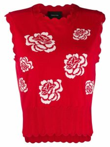 Simone Rocha floral knit tank top - Red