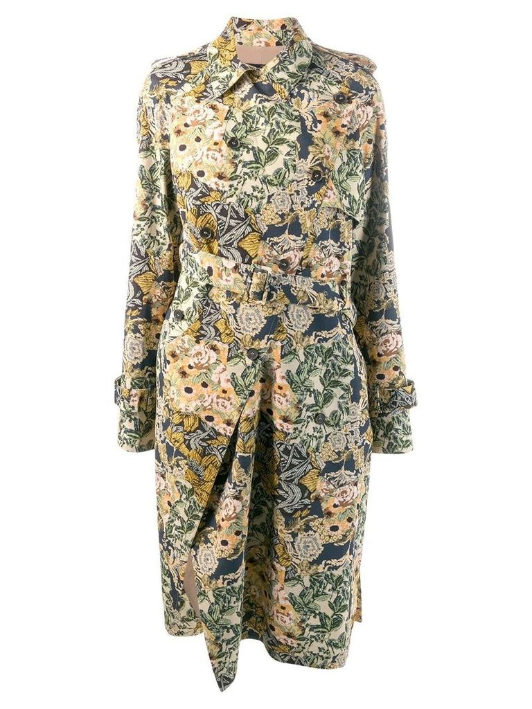 Rokh belted jacquard coat - Neutrals