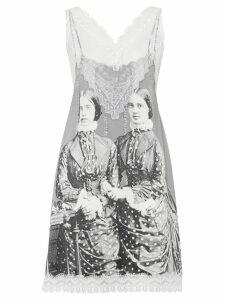 Burberry Lace Detail Victorian Portrait Print Silk Slip Dress - Grey