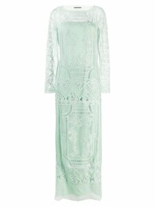 Alberta Ferretti lace embroidered long dress - Green
