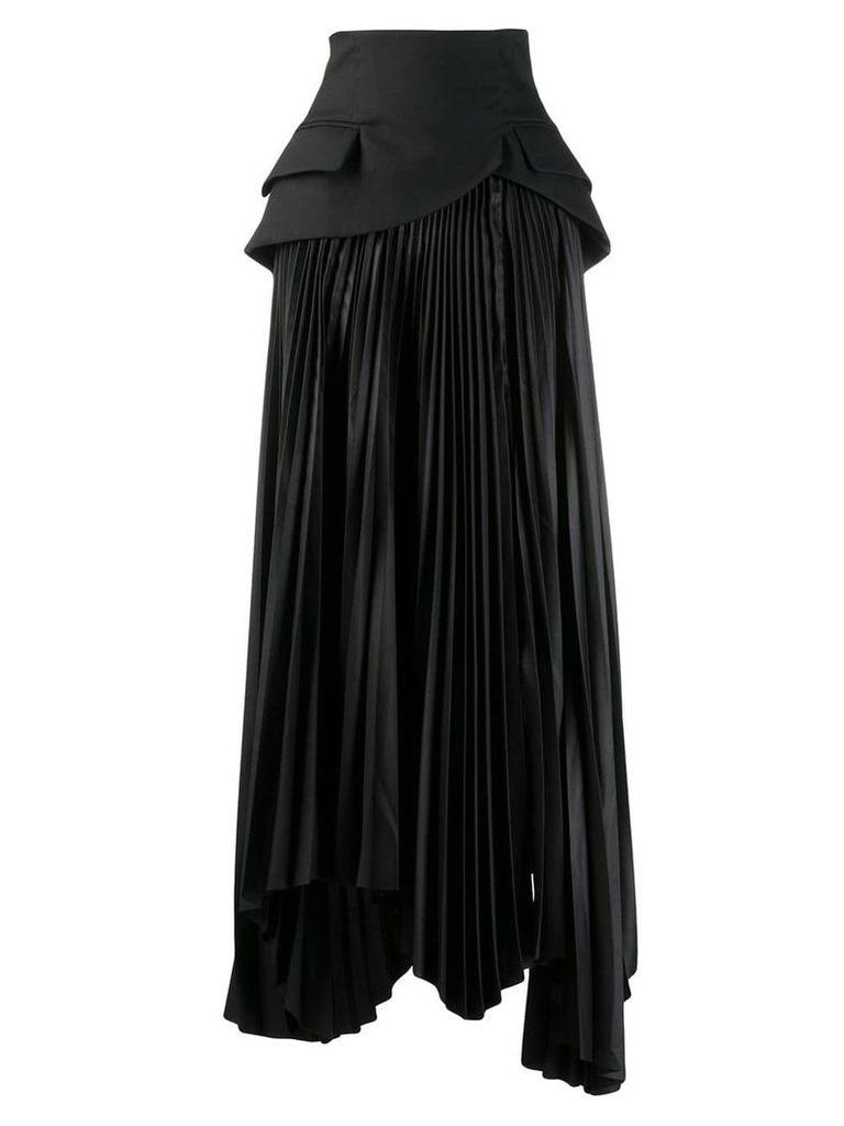A.W.A.K.E. Mode panelled pleated skirt - Black