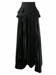A.W.A.K.E. Mode panelled pleated skirt - Black
