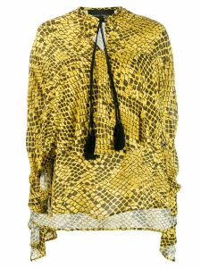 Christian Pellizzari layered snakeskin blouse - Yellow