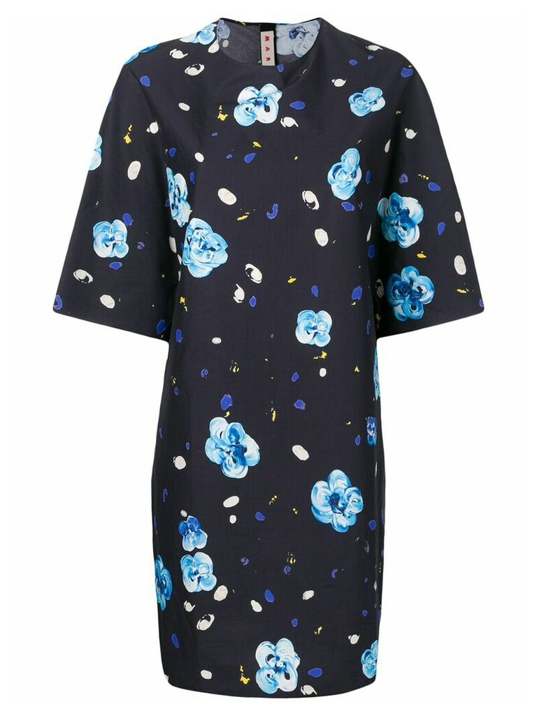 Marni floral printed mini dress - Blue