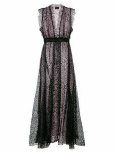 Giambattista Valli V-neck lace gown - Black