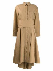Brunello Cucinelli asymmetric midi dress - Neutrals