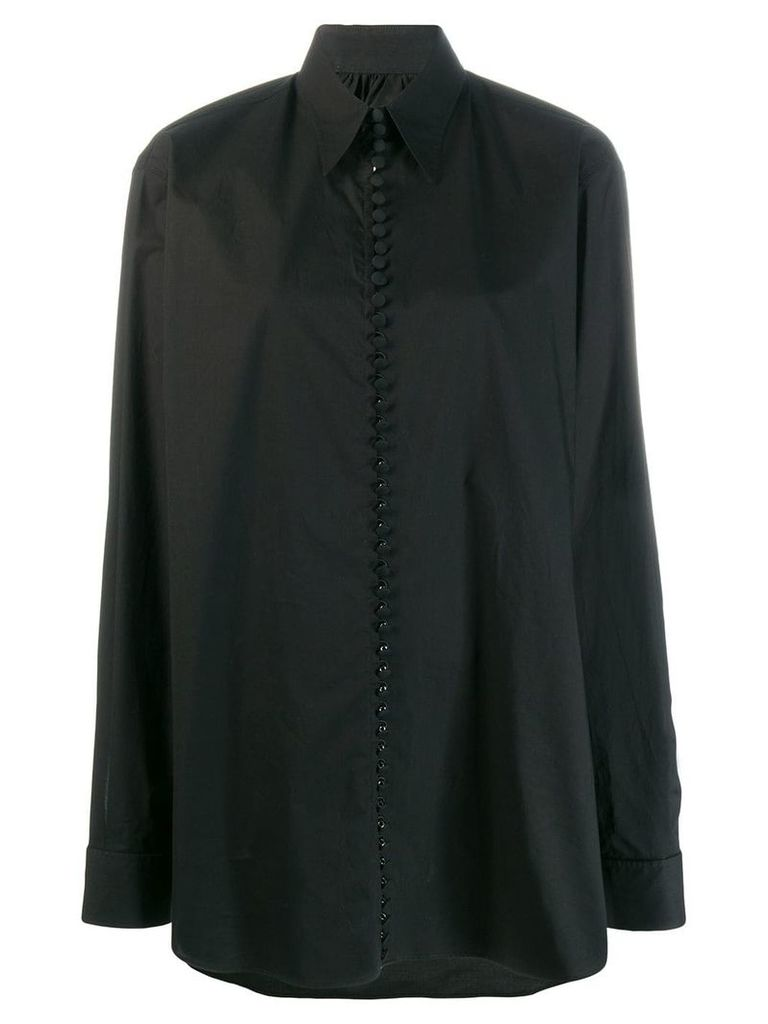Mm6 Maison Margiela oversized slogan print shirt - Black