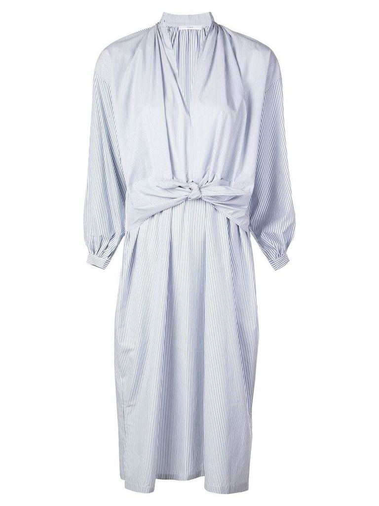 Tome midi shirt dress with sleeves-knot - Blue