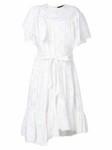 Simone Rocha openwork lace ruffle trim dress - White