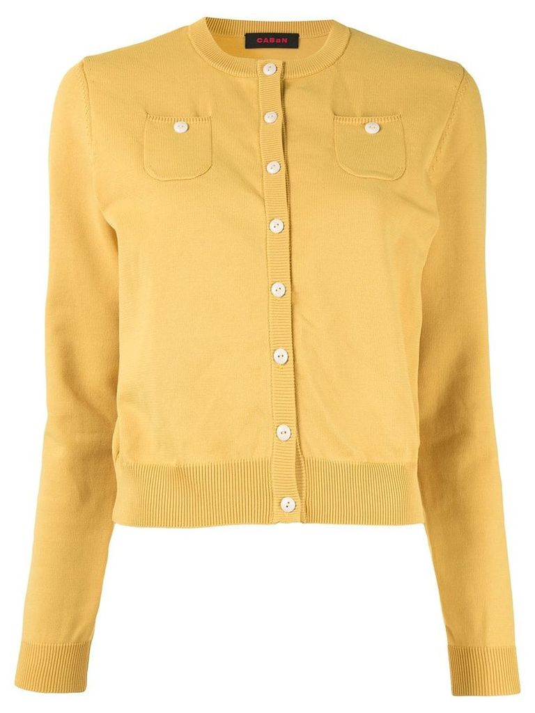 Caban button fine knit cardigan - Yellow