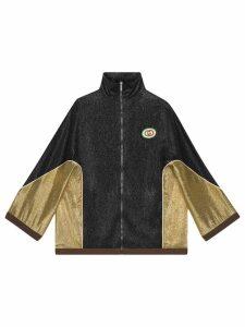 Gucci Crêpe lurex kimono jacket - Black