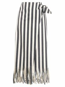 Rejina Pyo striped fringe skirt - Black