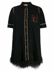 Nº21 embellished lace shirt dress - Black