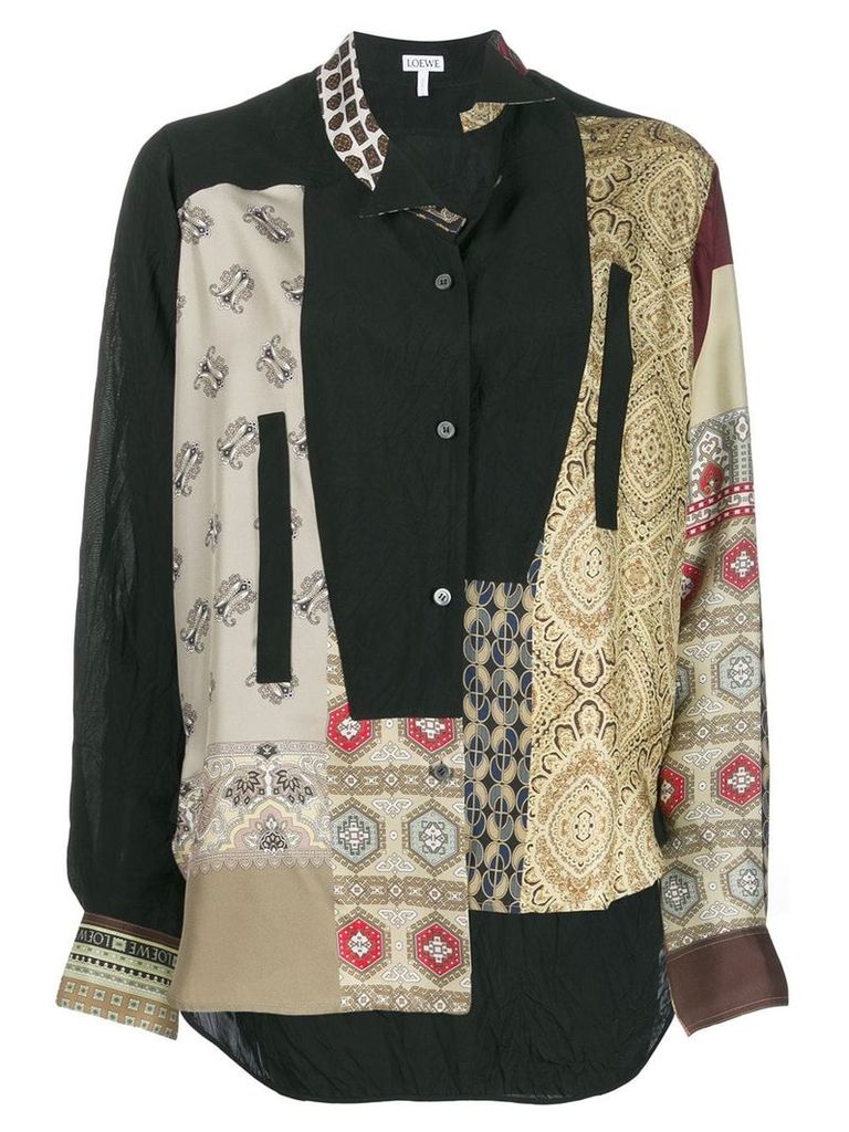 Loewe asymmetric patchwork shirt - Neutrals