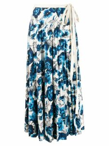 Pringle Of Scotland floral pleated skirt - Blue