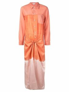 Tome long shirt dress with knot - Orange