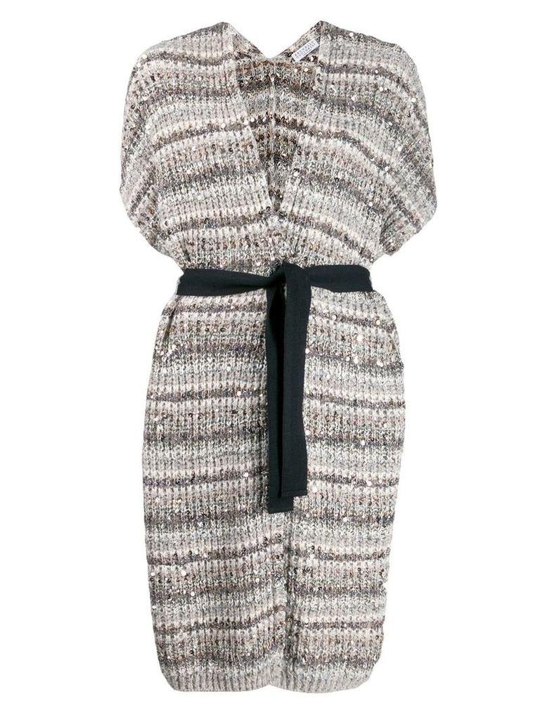 Brunello Cucinelli striped robe cardigan - Neutrals