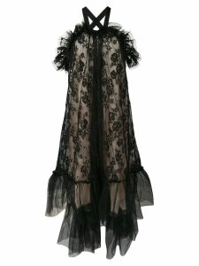 Gina ruffle lace halterneck gown - Black