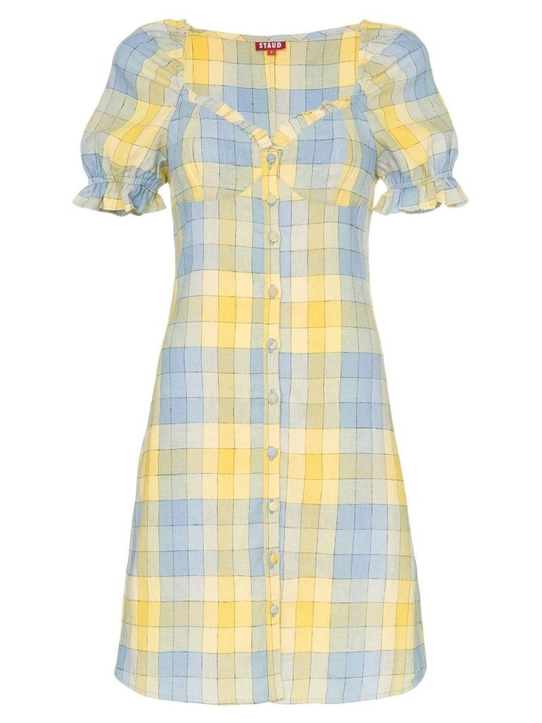 Staud check button front dress - Multicoloured