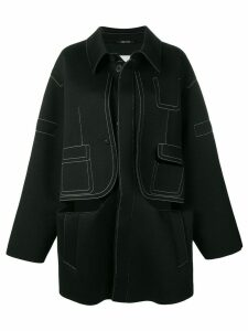 Maison Margiela contrast stitch oversized coat - Black