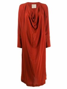 Erika Cavallini long-sleeve draped dress - Orange