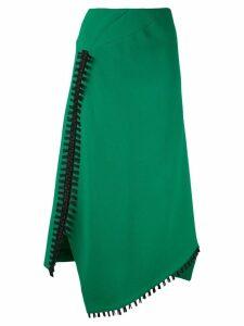 Roland Mouret fringed asymmetric skirt - Green
