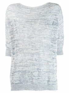 Lorena Antoniazzi knitted 3/4 sleeves top - Blue