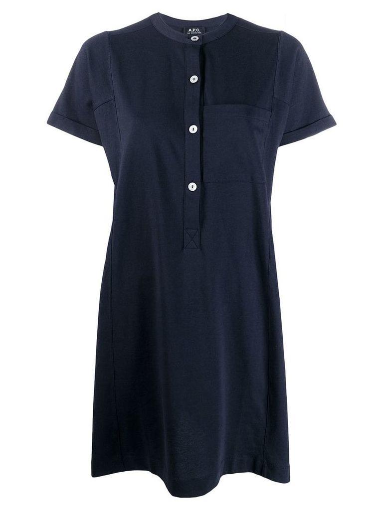 A.P.C. short-sleeve flared dress - Blue