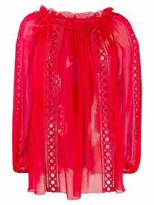 Blumarine ruffle tunic top - Red
