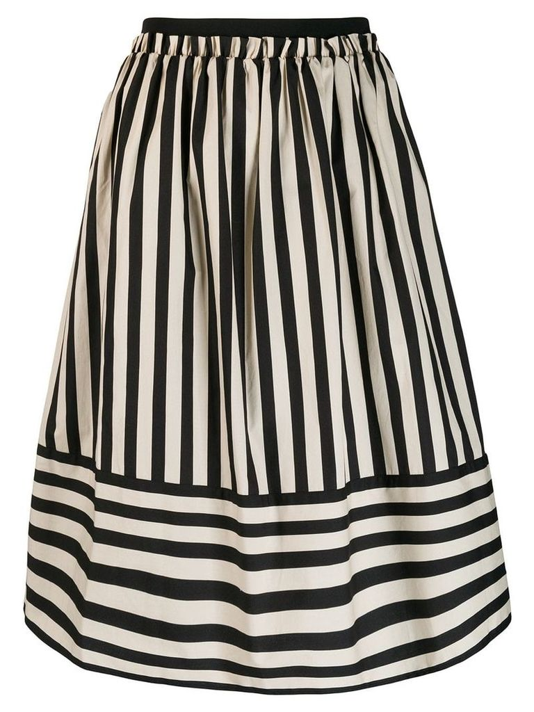 Twin-Set striped A-line skirt - Neutrals