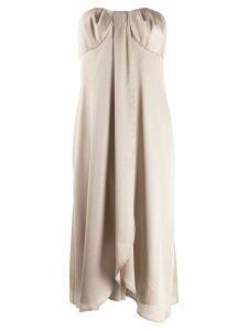 Federica Tosi strapless drape detailed dress - Neutrals