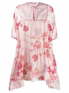 Giamba panelled floral mini dress - Pink