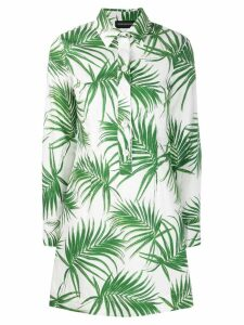 Sport Max Code palm leaf shirt dress - White