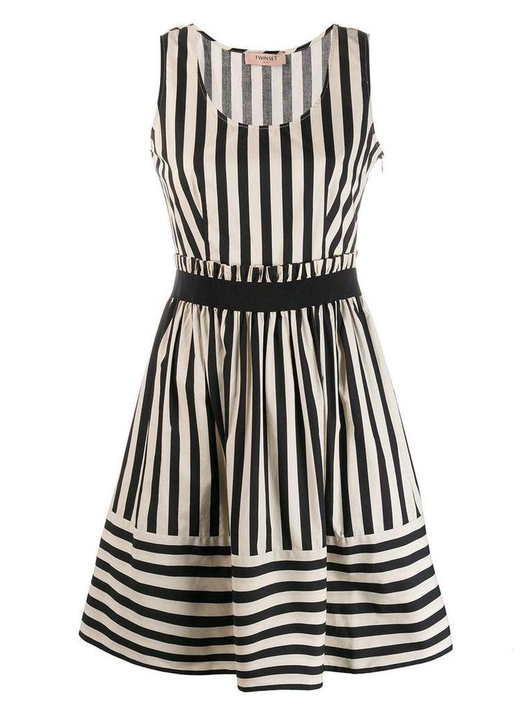 Twin-Set striped flared dress - Neutrals